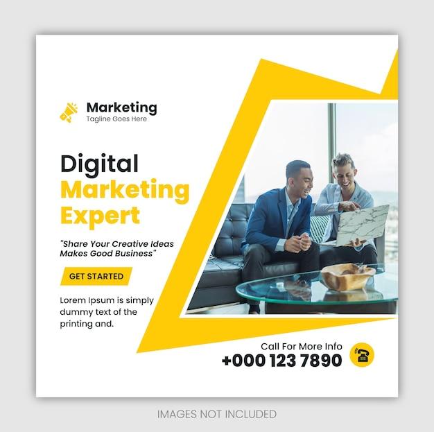 Agencja marketingu cyfrowego baner internetowy w mediach społecznościowych i szablon postu na instagram