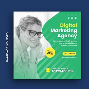 Agencja marketingu cyfrowego biznesu w mediach społecznościowych publikuje szablon banera internetowego