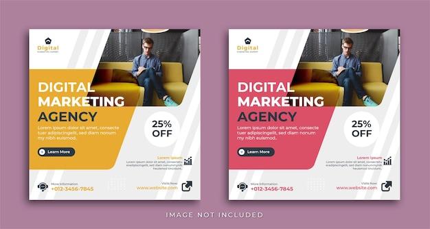 Agencja marketingu cyfrowego i elegancka ulotka korporacyjna, post na instagramie w kwadratowych mediach społecznościowych lub szablon banera internetowego