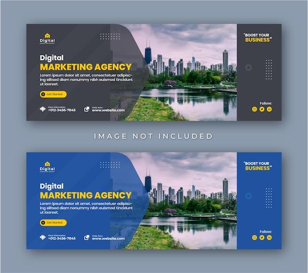 Agencja marketingu cyfrowego i korporacyjna ulotka biznesowa na facebooku obejmują baner postów w mediach społecznościowych