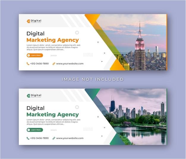 Agencja marketingu cyfrowego i korporacyjna ulotka biznesowa nowoczesna okładka na facebooku szablon banera postu w mediach społecznościowych