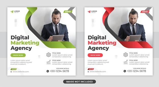 Agencja marketingu cyfrowego i korporacyjne media społecznościowe na facebooku i projekt szablonu banera internetowego