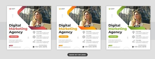 Agencja marketingu cyfrowego i korporacyjne media społecznościowe na facebooku i szablon banera internetowego