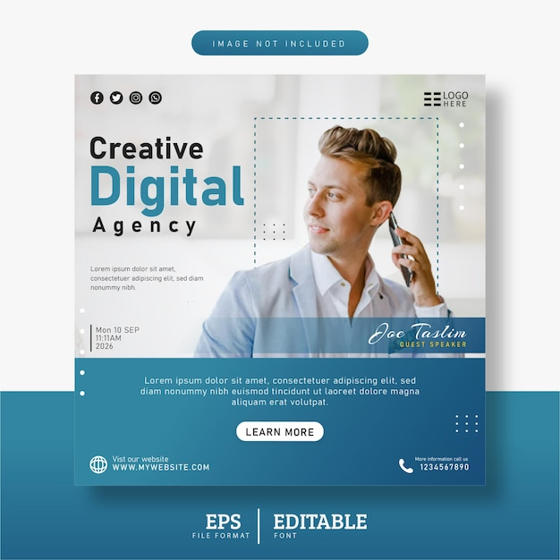 Agencja marketingu cyfrowego i szablon banera postów w mediach społecznościowych