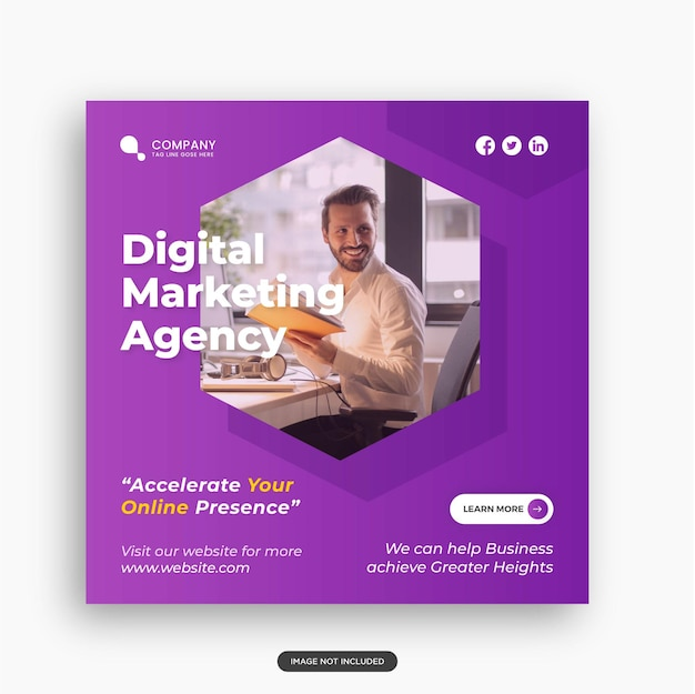 Agencja marketingu cyfrowego i szablon postu w mediach społecznościowych premium wektor