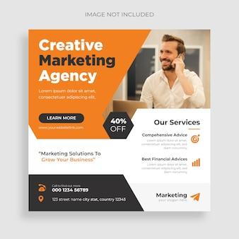 Agencja marketingu cyfrowego korporacyjne media społecznościowe webinarium na żywo i szablon postu na instagram