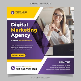 Agencja marketingu cyfrowego korporacyjny baner mediów społecznościowych i wektor szablonu postu na instagramie