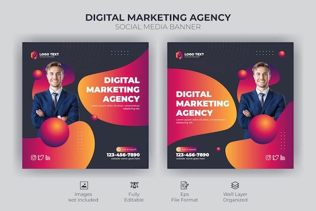 Agencja marketingu cyfrowego media społecznościowe i szablon postu na instagram