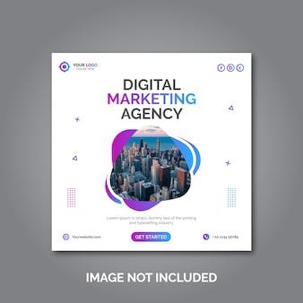 Agencja marketingu cyfrowego media społecznościowe, instagram, szablon banera internetowego