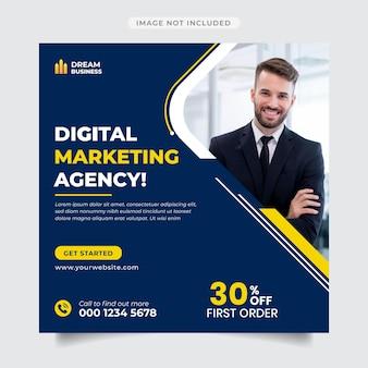Agencja marketingu cyfrowego post na instagramie i post na banerze w mediach społecznościowych