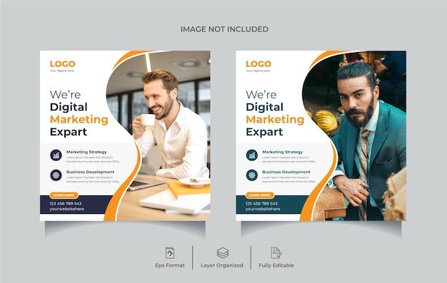 Agencja marketingu cyfrowego post w mediach społecznościowych lub edytowalny szablon projektu banera internetowego premium wektorów