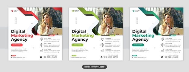 Agencja marketingu cyfrowego post w mediach społecznościowych lub szablon banera internetowego