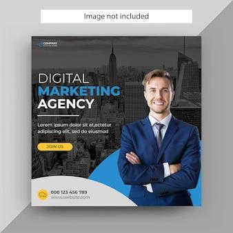 Agencja marketingu cyfrowego post w mediach społecznościowych, szablon posta na instagramie