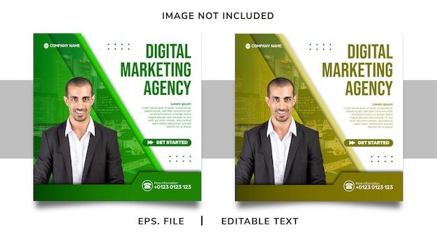 Agencja marketingu cyfrowego promocja w mediach społecznościowych i projekt szablonu postu na instagram