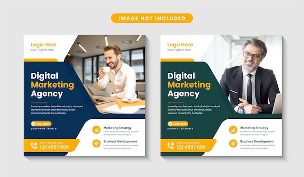 Agencja marketingu cyfrowego promocyjny post w mediach społecznościowych lub edytowalny szablon projektu banera internetowego