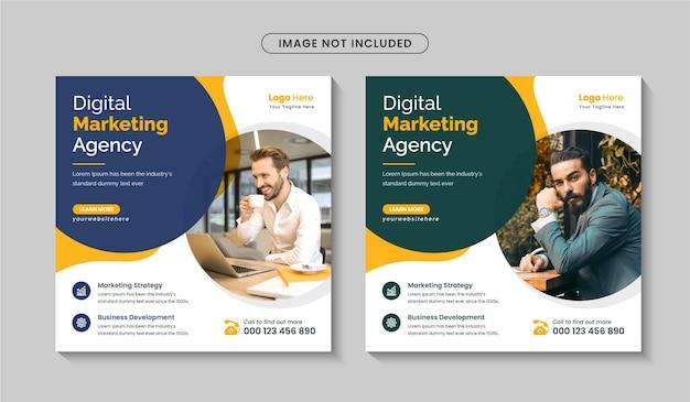 Agencja marketingu cyfrowego promocyjny post w mediach społecznościowych lub szablon projektu banera internetowego wektor premium