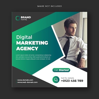 Agencja marketingu cyfrowego w mediach społecznościowych i szablon postu na instagramie