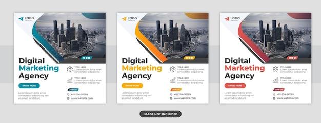 Agencja marketingu cyfrowego w mediach społecznościowych projekt szablonu postu na facebooku