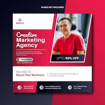 Agencja marketingu cyfrowego w mediach społecznościowych publikuje baner internetowy