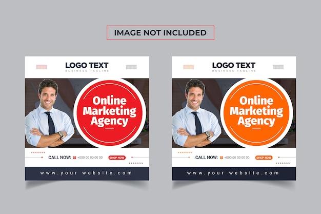 Agencja marketingu online baner szablon postu w mediach społecznościowych