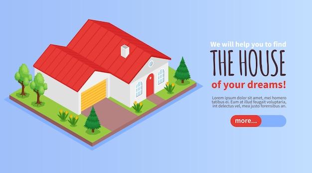 Agencja nieruchomości poziomy baner izometryczny z prywatnym domem i zewnętrznym garażem 3d