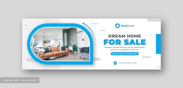 Agencja nieruchomości sprzedaż domu okładka mediów społecznościowych baner internetowy