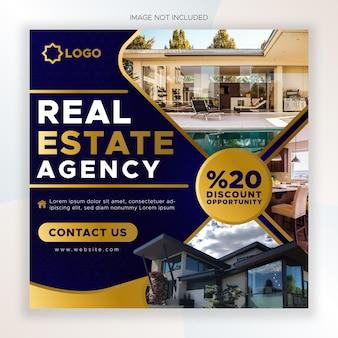 Agencja nieruchomości w mediach społecznościowych post i szablon banera internetowego