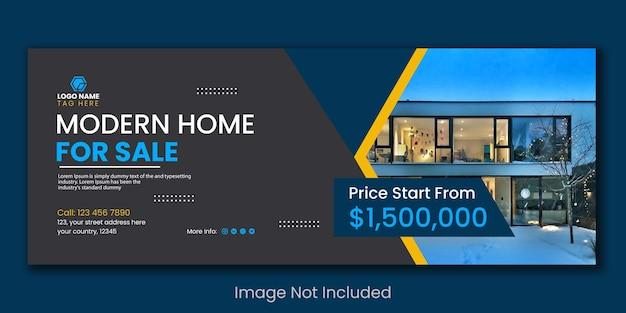 Agencja nieruchomości wynajem nowoczesnych domów sprzedaż w mediach społecznościowych post na facebooku