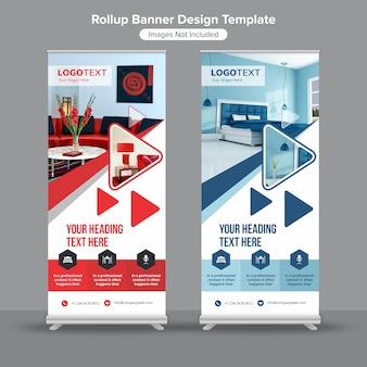Agencja projektowania wnętrz zwiń szablon banner standee