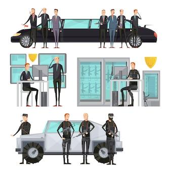 Agencja wywiadowcza pokolorowała płaski skład z ochroną i ochroną samochodów oraz skanowaniem ilustracji wektorowych