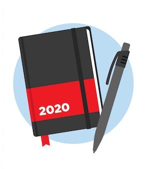 Agenda 2020 roku z piórem. lista rzeczy do zrobienia. rozkład jazdy.