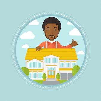 Agent nieruchomości daje kciuk w górę