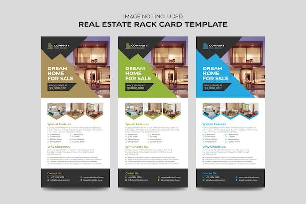 Agent nieruchomości i budownictwo business rack karty lub szablon ulotki dl