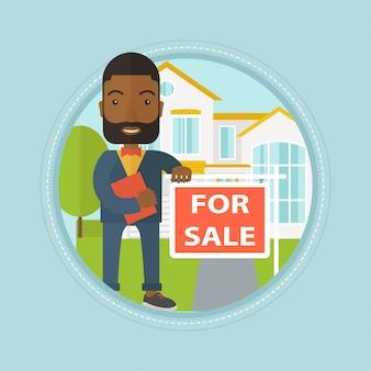 Agent nieruchomości oferujący dom
