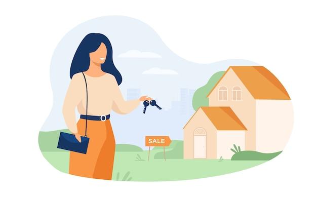 Agent nieruchomości trzyma klucze i stoi w pobliżu budynku na białym tle płaski wektor ilustracja. kobieta kreskówka i dom na sprzedaż.
