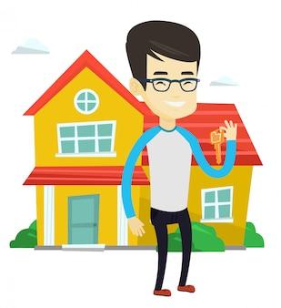 Agent nieruchomości z kluczową ilustracją.