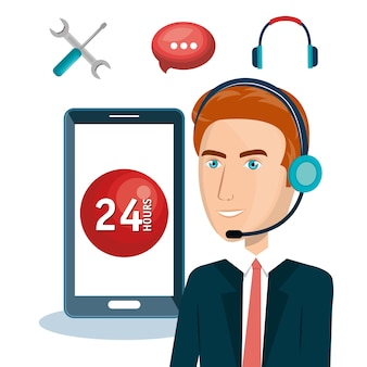 Agent obsługi klienta pracuje online wektor ilustracja projektu