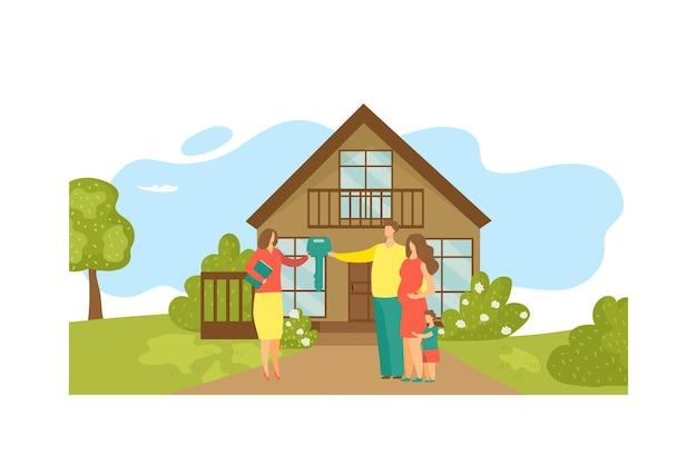 Agentka nieruchomości o charakterze kobiety sprzedaje piękny, nowoczesny, młody rodzinny prywatny dom