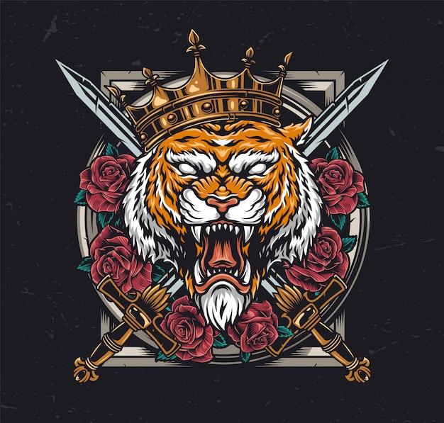 Agresywna głowa tygrysa w królewskiej koronie