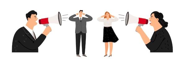 Agresywne zarządzanie. liderzy krzyczą na menedżerów. ilustracja wektorowa ludzi biznesu