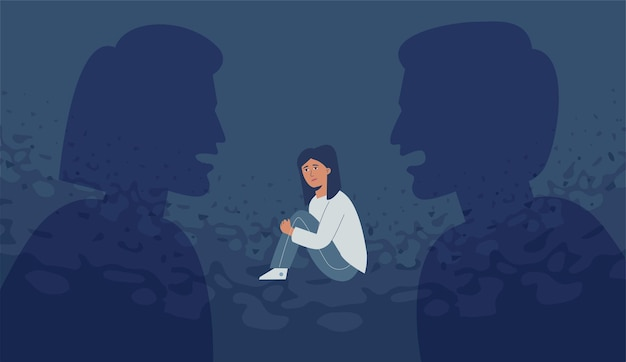Agresywni rodzice krzyczą na siebie, dziecko jest zastraszone i przygnębione.