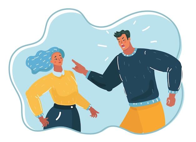 Agresywny mężczyzna krzyczy na kobietę