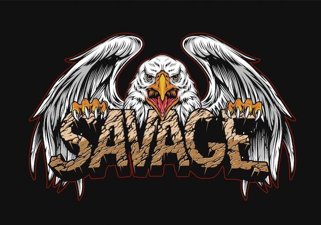 Agresywny orła mienia pustyni savage słowo