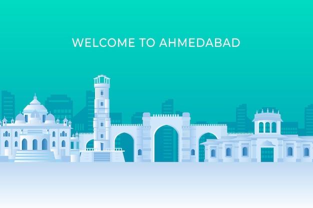 Ahmedabad skyline w stylu papierowym