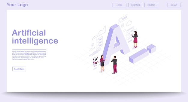 Ai izometryczny strony internetowej szablon wektor z izometrycznej ilustracji
