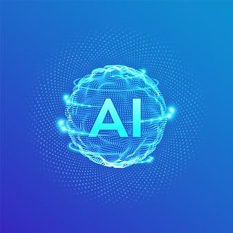Ai. logo sztucznej inteligencji. fala siatki sferycznej z kodem binarnym.