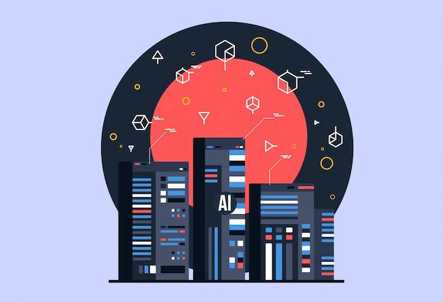 Ai, skład sztucznej inteligencji, mózg z neuronami elektronowymi.