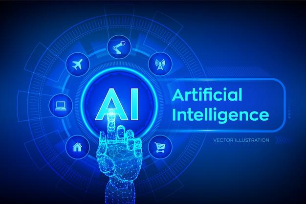 Ai. sztuczna inteligencja. dłoń dotykająca interfejs cyfrowy.