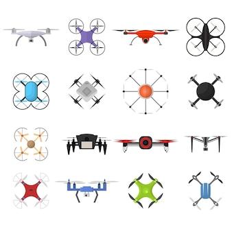 Air drone color quadrocopter set innovation technology control concept flat design.