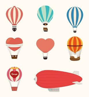 Airballoon projekt nad białą backgroundvector ilustracją
